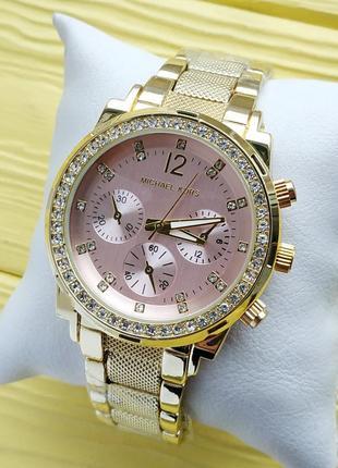 Женские наручные часы золотого цвета с розовым циферблатом, ри...