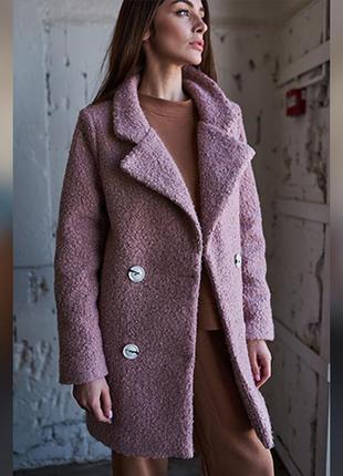 Стильное пальто из каракуля, короткое женское пальто цвета пудра