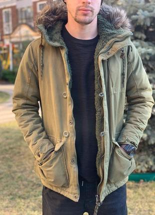 Шикарная мужская зимняя куртка/ парка pull & bear цвета хаки с...