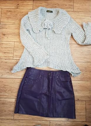 Свитер + кожаная юбка в подарок! джемпер ассиметричный рюши