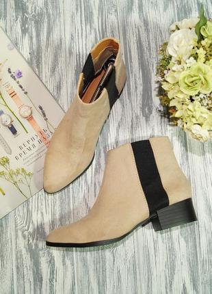 🌿35🌿h&m. стильные ботинки, челси в пудровом оттенке