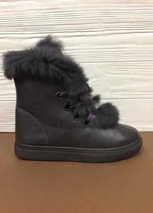 Женские зимние кожаные ботинки с опушкой кролика