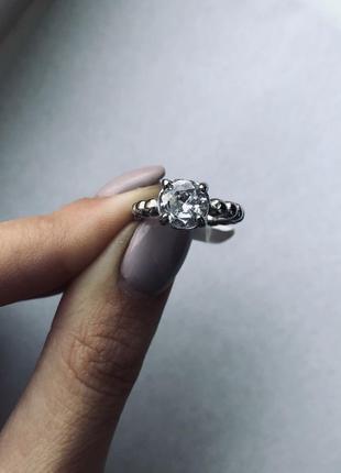 Кольцо в стиле пандора женское с цирконием стальное посеребрен...