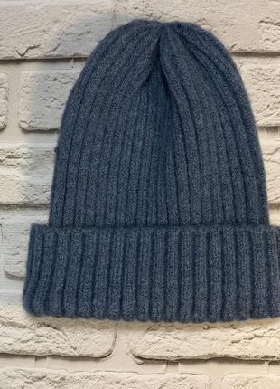 Голубая шапка в рубчик ангора новая