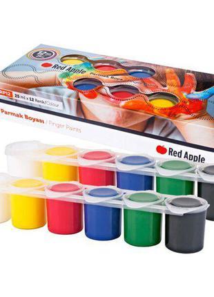 Краски пальчиковые, 12 цветов Red Apple Разноцветный