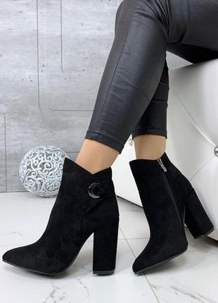 Замшевые ботинки на каблуке, демисезонные чёрные ботинки
