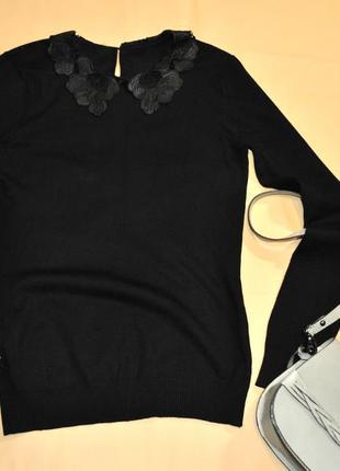 Стильный пуловер джемпер кофта с кожаным воротничком
