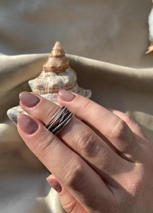 Женское широкое серебряное кольцо, кольцо серебро 925
