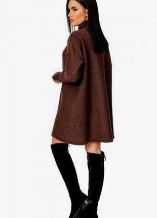 Платье теплое в стиле оверсайз шоколадного оттенка