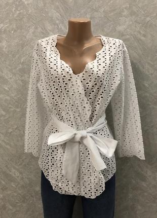Блуза на запах кимоно из прошвы
