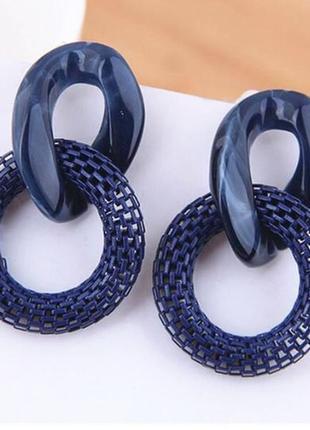 Стильные серьги синего цвета