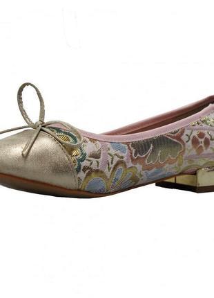 Крутые😍 туфли балетки с зеркальным маленьким каблуком в цветоч...