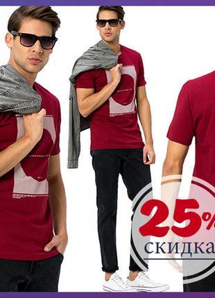 Мужская футболка бордового цвета lc waikiki с рисунком