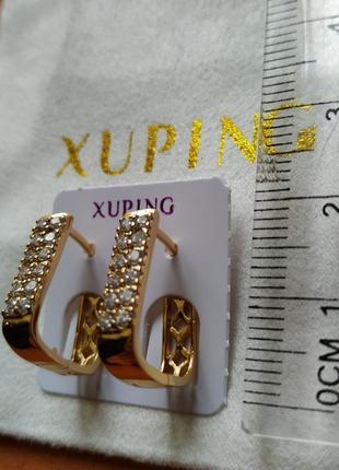 """Серьги xuping """" двойная дорожка циркония"""", ювелирная бижутерия..."""