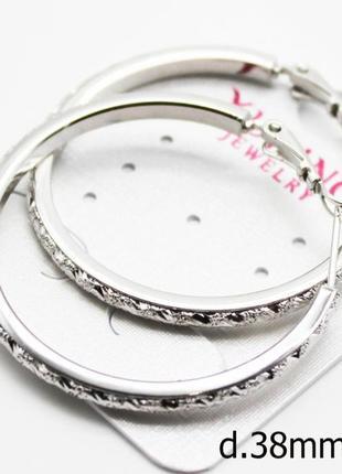 Серьги-кольца с узором, родий, ювелирная бижутерия медицинское...