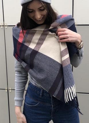 Теплый палантин шаль шарф в клетку кашемировый