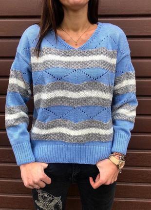 Шикарный вязаный свитер пастельного цвета зимний новый
