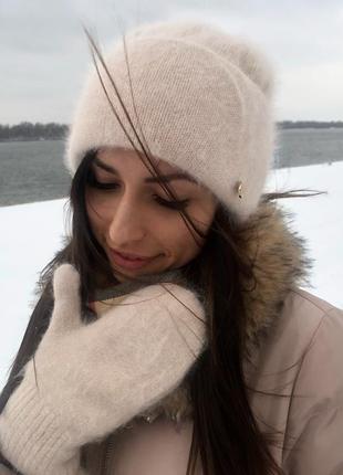 Зимний теплый набор ангора шапка и варежки цвета крем-брюле новый