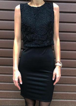 Платье стильный нарядный модный костюм-двойка юбка топ черного...