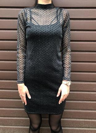 Шикарное нарядное модное платье-двойка миди сетка в горох новое