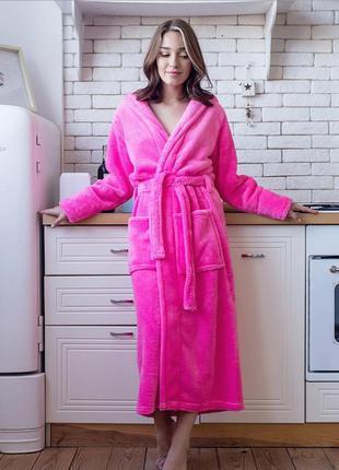 Розовый женский длинный халат , размер 44-54