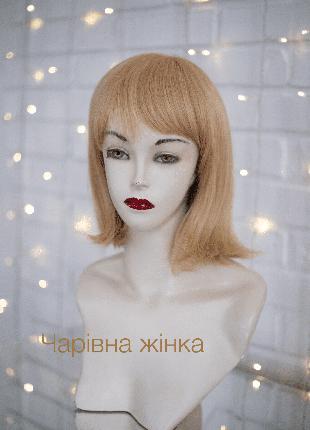 Парик каре из натуральных волос, monotop, облегченный, с челкой