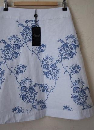 Новая льняная юбка с вышивкой peacocks