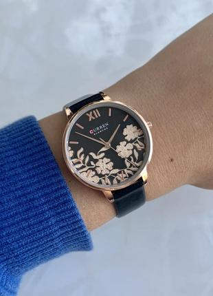 Женские наручные часы curren blanche каррен черные с цветами