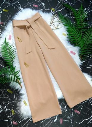 Нежные брендовые широкие брюки кюлоты штаны с поясом miss self...