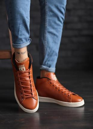 Кроссовки мужские adidas brown, коричневые высокие адидас