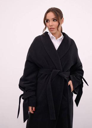 Чёрное весеннее зимнее осеннее кашемировое пальто на утеплителе