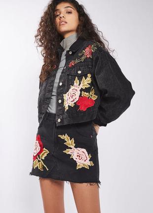 #стильная джинсовая куртка topshop moto denim rose. размер m-l