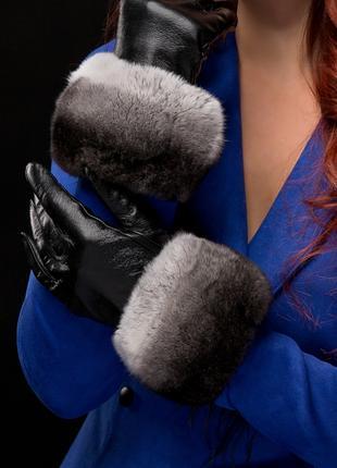 Женские перчатки, сенсорные , с мехом Шиншиллы
