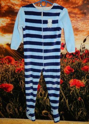 Пижама человечек слип на мальчика 5-6 лет тёплая голубая в син...