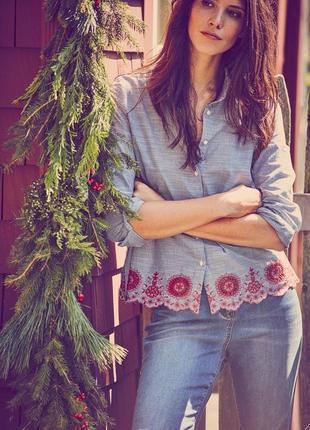 Стильная рубашка в вышивку с длинным рукавом