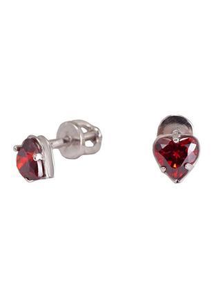Серьги-пуссеты из серебра с покрытием из родия «сердечко» с фи...