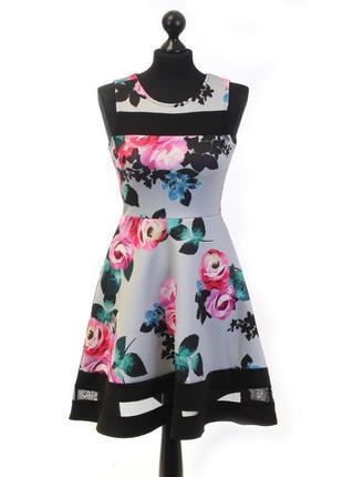Шикарное платье дайвинг в принт вставки сетки 50-52 размера