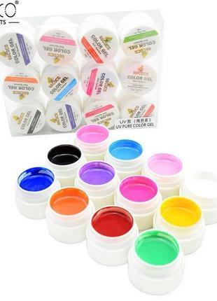 Набор гель-красок GDCoco Color Gel 12 шт., 24 шт., 36 шт 5 мл