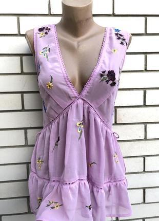 Новая сиреневая блузка с вышивкой,этно бохо стиль, asos