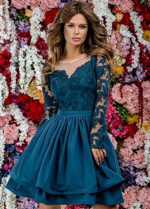Платье . Цвет изумрудный.