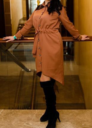 Платье-рубашка женское под пояс