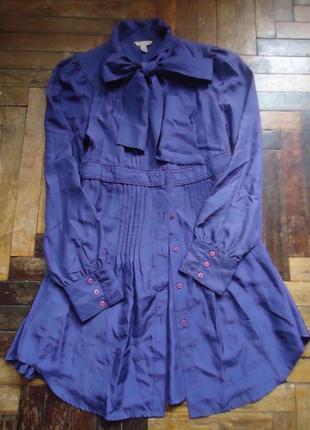 Винтажная шелковая блуза платье туника