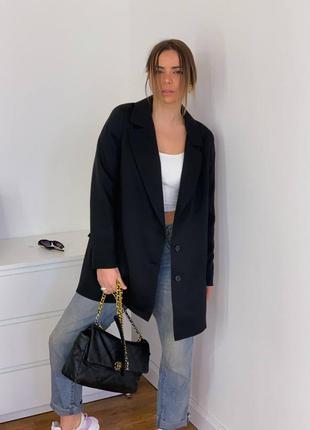 Классика чёрный пиджак удлиненный
