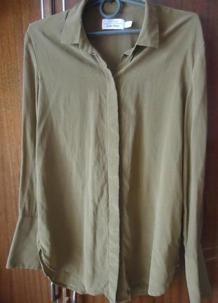Фирменная шелковая блуза рубашка