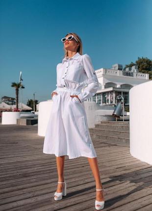 Легкое и нежное платье рубашка белое