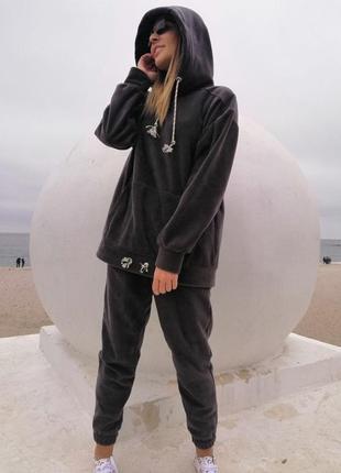 Теплый костюм худи графит