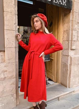 Распродажа! стильное теплое платье миди под пояс красное