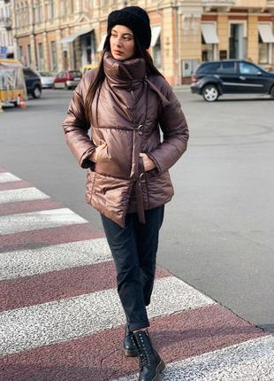 Распродажа! зимняя куртка пуховик на завязках шоколад