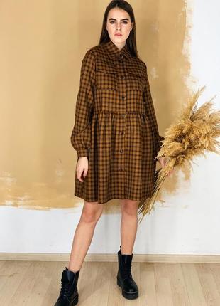 Теплое платье в клетку оверсайз свободное