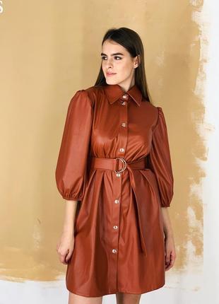 Платье из эко кожи кожанное платье коричневое